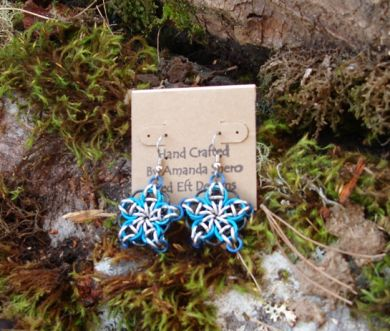 Blue Celtic Star Earrings