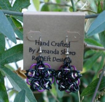 Purple & Black Celtic Star Earrings