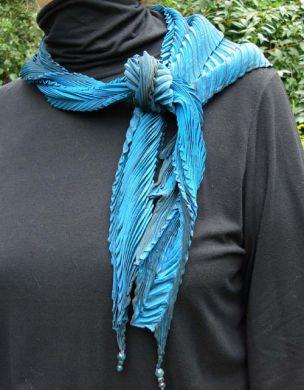 Blue Sideways Shibori Scarf