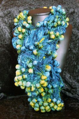 Blue & Yellow Shibori Bubble Scarf