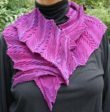 Grape Feather Pleated Shibori Scarf