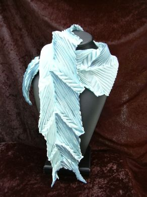 Light Blue Feather Pleated Shibori Scarf
