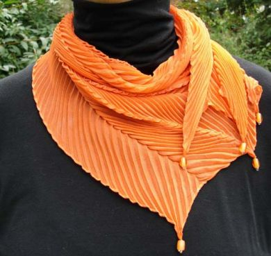 Orange Chiffon Shibori Scarf