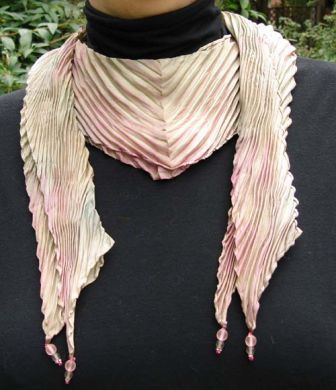 Pink & Grey Center Point Shibori Scarf