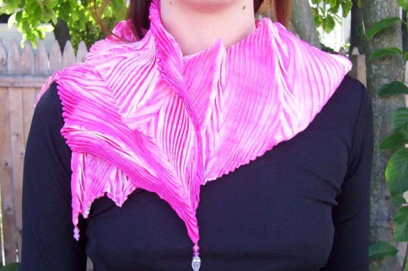 Pink Feather Pleated Shibori Scarf