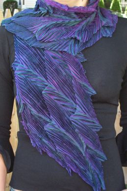 Purple & Black Double Feather Shibori Scarf