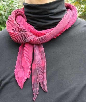 Red & Black Chiffon Shibori Scarf