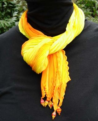 Yellow & Orange Crepe Shibori Scarf