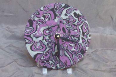 Purple Mokume Gane Clock