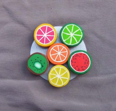 Polymer Clay Fruit Magnets